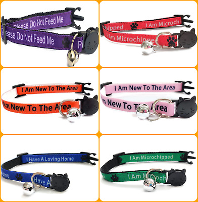 Word Cat Collars - Please Do Not Feed Me / I Am Microchipped | Quick Release • 4.99£