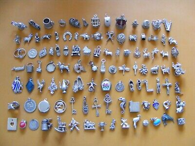 A22 Vintage Sterling Silver Charms Charm Caravan Church Lamp Sheep Cat Dog Bell  • 5.99£