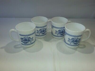 Set 4 Arcopal Honorine Cups Coffee Mugs Made In France  Blue White Floral • 24.99$
