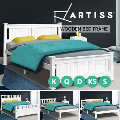 AU159.95 • Buy Artiss Wooden Bed Frame Queen Double King Single Full Size Mattress Base Timber