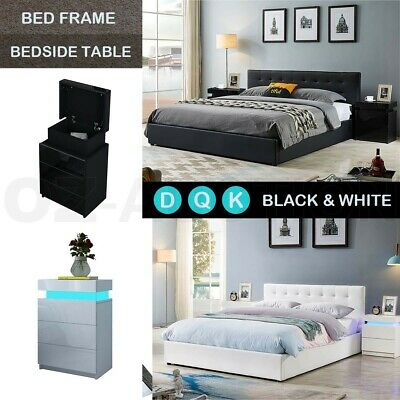 AU109.95 • Buy Double/Queen/King Size Bed Frame PU Leather Gas Lift Storage Bed Base Furniture