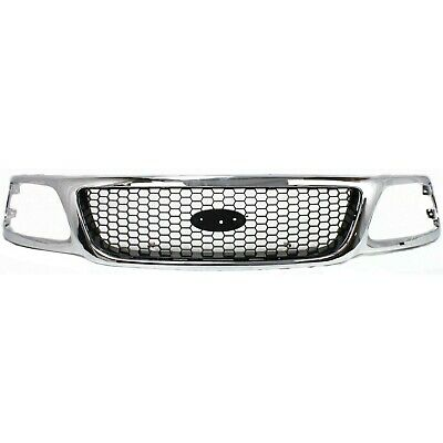 $118.44 • Buy Grille For 99-2003 Ford F-150 99 F-250 Chrome Shell W/ Black Insert Plastic