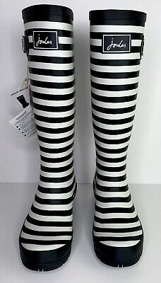 JOULES WELLY PRINT TALL RAIN BOOTS Rubber Waterproof Striped Black White US Sz 6 • 50$