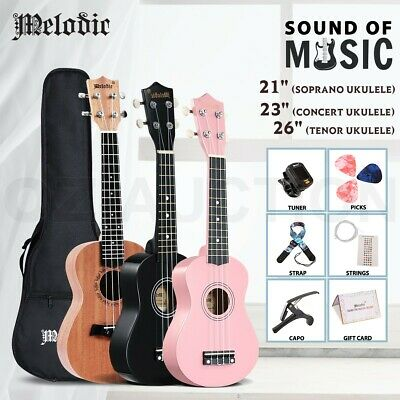 AU44.95 • Buy Melodic Ukulele Soprano Concert Tenor Acoustic Mahogany W/Carry Bag For Beginner