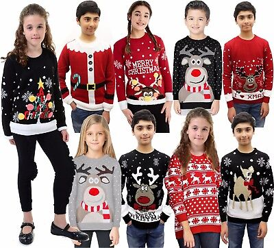 Boys Girls Unisex Kids Novelty Retro Santa Reindeer Tops Christmas Xmas Jumpers  • 9.99£