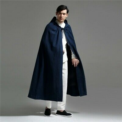 $81.62 • Buy Vintage Mens Thickened Hooded Long Robe Cloak Chinese Style Windbreaker Trench
