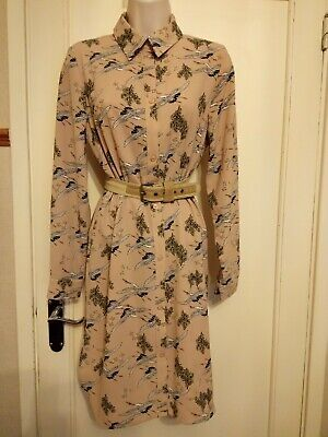 Atmosphere Dusky Pink Button Up Shirt Dress With CRANE Design Size 10.  Gorgeous • 12.99£