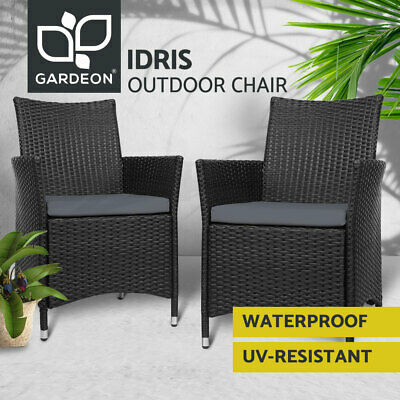 AU209.95 • Buy Gardeon Outdoor Dining Chairs Bistro Set Patio Furniture Wicker Garden Cushionx2