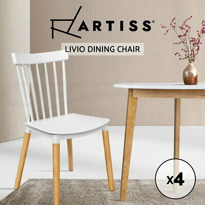 AU151.95 • Buy Artiss Dining Chairs Replica Kitchen Chair White Retro Rubber Wood Cafe Seat X4