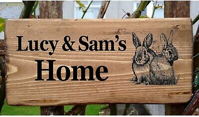 £19.98 • Buy Rabbit Hutch Name Sign Personalised  Pet Bunny Cage Run Plate Plaque Double Two