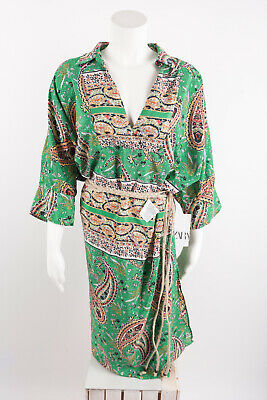 Zara Woman's Printed Dress With Belt XL Green Pisley Knee Length 2711/320 NWT • 44.99$