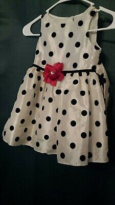 GEORGES GIRLS SIZE 4T POLKA DOT CHRISTMAS  Or PARTY DRESS W/RED ROSE FOR BOW • 4.31£