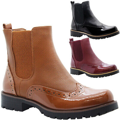 Womens Ankle Chelsea Brogues Boots Ladies Block Heels Slip On Office Shoes Size • 19.95£