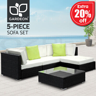 AU599.90 • Buy Gardeon 5pc Outdoor Furniture Sofa Set Lounge Setting Wicker Rattan Couch Garden