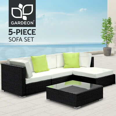 AU659.95 • Buy Gardeon 5pc Outdoor Sofa Lounge Setting Wicker Set Patio Garden Furniture Rattan