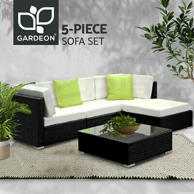 AU559.90 • Buy Gardeon 5pc Outdoor Sofa Set Lounge Setting Wicker Rattan Table Couch Cushion