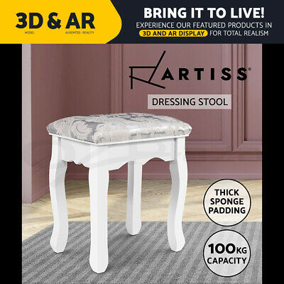 AU41.90 • Buy Artiss Dressing Stool Bedroom White Make Up Chair Living Room Fabric Furniture