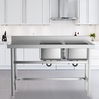 Commercial Kitchen Catering SINK Stainless Steel Double Bowl Wash Sink • 235.14£