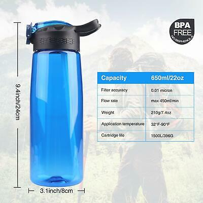 $30.99 • Buy Portable Filtered Water Bottle Purifier 4Stage BPA Free Leakproof Camping Hiking