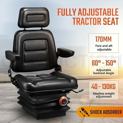 AU249.95 • Buy Suspension Tractor Seat Excavator Forklift Truck Backrest Chair PU Leather Seat