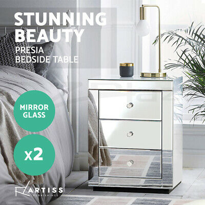 AU349.90 • Buy Artiss Mirrored Furniture Bedside Tables Table Chest Drawers Nightstand Glossx2