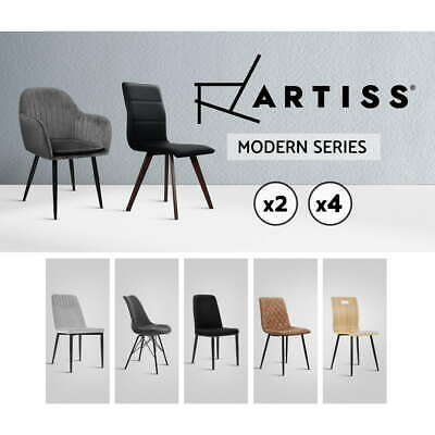 AU185.95 • Buy Artiss Dining Chairs Replica Kitchen Chair Fabric Leather Retro Iron Legs X2x4