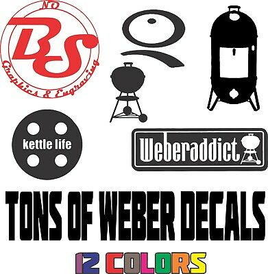$ CDN5.08 • Buy 6  WEBER Kettle Logo Grill BBQ Barbecue Smokey Charcoal Smoker Vinyl Decal NoBS