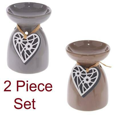 AU16.23 • Buy 2x Grey Brown Ceramic Oil Burner Wooden Heart Scent Diffuser Aromatherapy