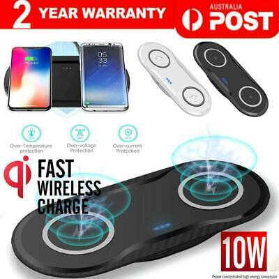 AU25.48 • Buy Dual Wireless Charger Fast Charging Dock Station Mat For IPhone Samsung AirPods