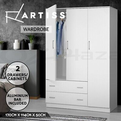 AU299.95 • Buy Artiss 3 Doors Wardrobe Organiser Bedroom Storage Clothes Closet Cabinet Armoire