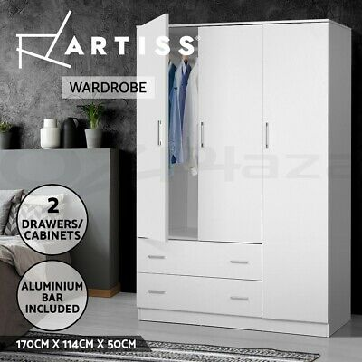AU339 • Buy Artiss Wardrobe Bedroom Clothes Closet 3 Doors Storage Cabinet Armoire Organiser