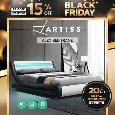 AU187.95 • Buy Artiss RGB LED Bed Frame Double Queen King Size Mattress Base Platform Leather