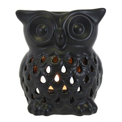 Black Owl Oil Burner - Ceramic -  Tea Light Candle - Aromatherapy - Gift Boxed • 8.45£