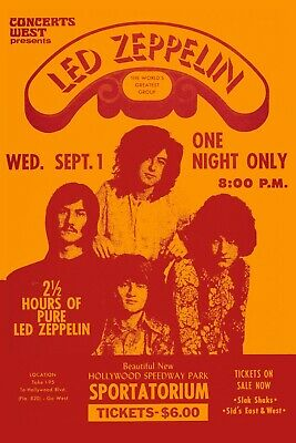 $12 • Buy  Led Zeppelin At Hollywood Speedway Concert Poster 1971   12x18
