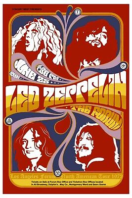 $12 • Buy  Led Zeppelin At The Forum In Ingelwood California Concert Poster 1972   12x18