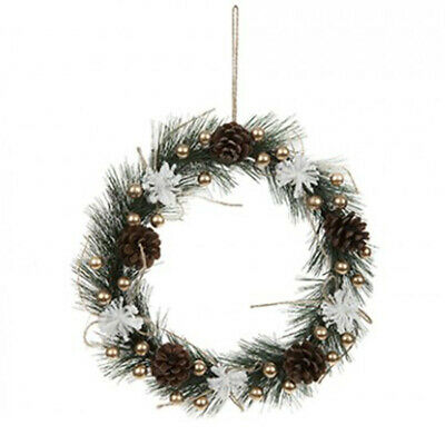 PMS 26CM Christmas Gold Pine & Berry Wreath With White Flowers Chic Home Hanging • 6.79£