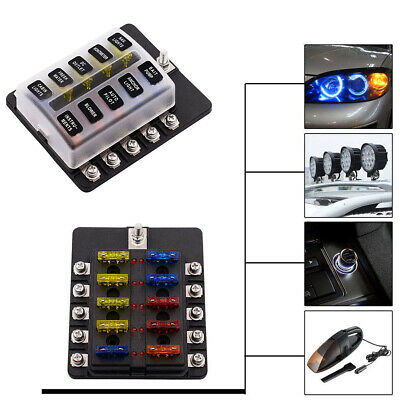$21.88 • Buy Car 10-way Fuse Box Blade Fuse Holder 5A 10A 15A 20A Fuses With Waterproof Cover
