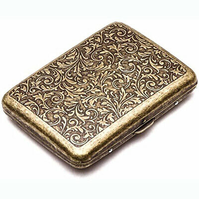 Vintage Metal Cigarette Case Box Gold Men Tobacco Holder For 20s 85mm King Size • 7£