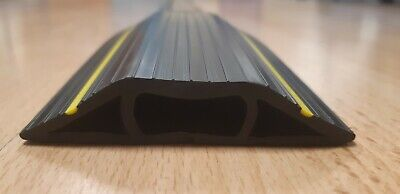 1x Cable Protector/ Ramp - 3 Channels - Hard Rubber - 2M Long - Yellow Stripes • 25£
