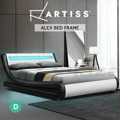 AU299.95 • Buy Artiss RGB LED Bed Frame Double Size Base Mattress Platform Leather Wooden ALEX