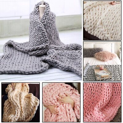 £15.95 • Buy Sofa Blanket Fluffy Chunky Knited Blanket Mat Soft Handmade Cable Knit Throw Bed