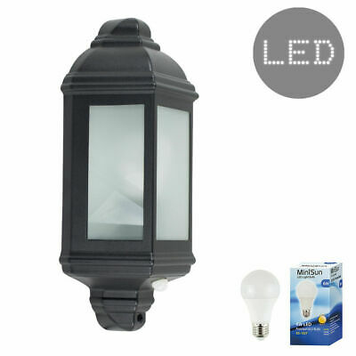 Black Aluminium Outdoor LED IP44 Wall Lantern PIR Motion Sensor Light + GLS Bulb • 22.99£