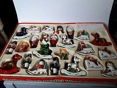 $ CDN25.99 • Buy Vintage Handpainted Wooden Christmas Decorations 24pce Boxed Set CHRISTMAS HOUSE