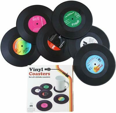Vinyl Record Coaster Set DJ LP Music Disc Pack Of 6 Retro Novelty Drink Mats • 7.99£