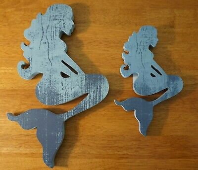 Set Of 2 Distressed Wood Mermaid Wall Art Sculpture Beach Home Decor Signs Blue • 13.55£
