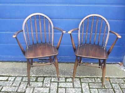 Vintage 1960's Ercol Windsor Armchairs X 2. Model 2056. Great Upcycle! • 199£