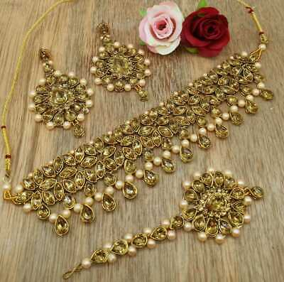 Kundan Choker Necklace Gold Plated Bollywood Indian Bridal Pearl Jewelry Set • 15.93$