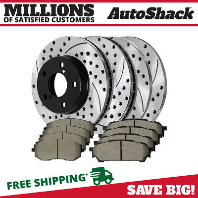 $117.51 • Buy Front & Rear Performance Drilled Slotted Brake Rotors & Ceramic Pads Kit