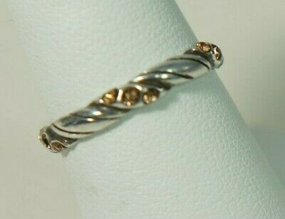 Authentic BRIGHTON Silver 15 Citrine Crystal Stone Cable Band Ring Size 7.5 • 19.99$