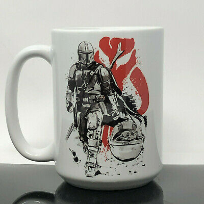 $20 • Buy BABY YODA AND THE MANDALORIAN 15oz CERAMIC COFFEE MUG DISNEY STAR WARS